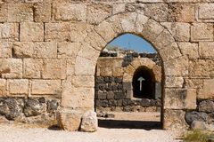 Inner gate of of Belvoir fortress. The Crusader fortress of Belvoir, located on a hill of the Naphtali plateau, 20 km. south of the Sea of Galilee Stock Image