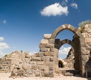 Inner gate of of Belvoir fortress. The Crusader fortress of Belvoir, located on a hill of the Naphtali plateau, 20 km. south of the Sea of Galilee Royalty Free Stock Photo