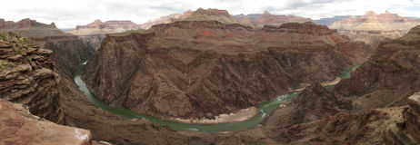 Inner Grand Canyon panorama. Panorama of the Colorado River in the Grand Canyon national park from near plateau point off of the Bright Angel Trail Stock Image