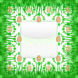 Inner grassy square frame with easter egg pattern  Royalty Free Stock Photos