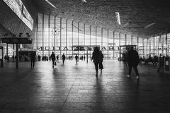 The inner hall of the central station of Rotterdam. Rotterdam, Netherlands – May 26, 2016: Picture of the hall with travelers in the Central Station Rotterdam Royalty Free Stock Photos