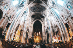 The inner hall of the Gothic cathedral royalty free stock photo