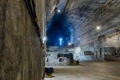 The inner halls in the salt mines in Slanic - Salina Slanic Prahova - in the town of Prahova in Romania. Stock Photos