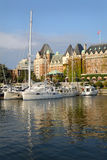 Inner Harbor Afternoon, Victoria, BC, vertical. Victoria's Inner Harbor and marina in downtown Victoria. The historic Empress Hotel looks over the harbor Stock Images