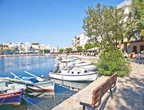 The inner harbor at Agios Nikolaos, Crete. Stock Images