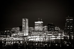 Inner Harbor, Baltimore - Circa 2009: Black and White Night Shot of Inner Harbor Skyline Royalty Free Stock Image