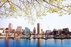 Inner Harbor and Baltimore skyline, in spring, USA stock photos