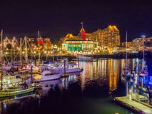 Inner Harbor of Victoria BC  illuminated at  Christmas and New Y. Inner Harbor of Victoria BC, capital of British Columbia, Vancouver Island, Canada, illuminated Royalty Free Stock Photo