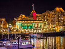 Inner Harbor of Victoria BC  illuminated at  Christmas and New Y. Inner Harbor of Victoria BC, capital of British Columbia, Vancouver Island, Canada, illuminated Stock Photography