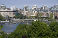 Inner harbor of Victoria BC. Nice view of Victoria BC with Inner Harbor and The Empress Hotel Royalty Free Stock Image
