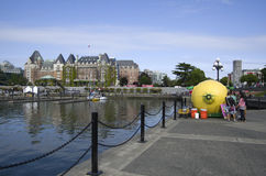 Inner harbor of Victoria BC. Nice view of Victoria BC with Inner Harbor and The Empress Hotel Royalty Free Stock Images