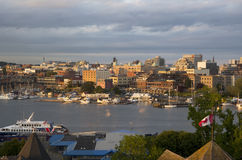 Inner harbor of Victoria BC sunset Stock Photography