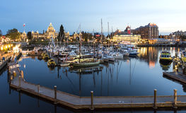 Inner Harbor and Victoria Downtownat Night. Victoria, BC Canada - April, 28th 2017. Inner Harbor in Victoria BC is one of the most beautiful in the world Royalty Free Stock Photography
