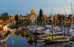 Inner Harbor and Victoria Downtownat Night. Victoria, BC Canada - April, 28th 2017. Inner Harbor in Victoria BC is one of the most beautiful in the world Stock Image