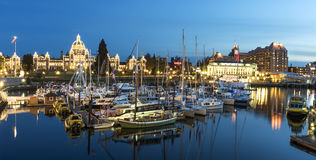 Inner Harbor and Victoria Downtownat Night. Victoria, BC Canada - April, 28th 2017. Inner Harbor in Victoria BC is one of the most beautiful in the world Stock Photography