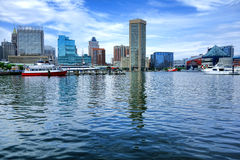 Inner Harbor Water View in Baltimore Maryland. Baltimore Inner Harbor water level view with shopping centers and cruise boats near National Aquarium and downtown Stock Photography
