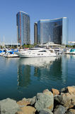 Inner Harbor - Yachts and Glass. Yachts and towering glass resort hotels Stock Image