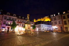 Inner Kornmarkt square during night with lights Stock Images