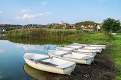 Inner Lake in Tihany with boats in Hungary Royalty Free Stock Image