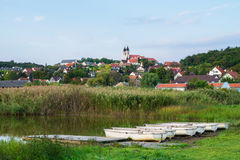 Inner Lake in Tihany with boats, Hungary Stock Images