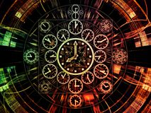 Inner Life of Chronology. Circles of Time series. Composition of clock symbols and fractal elements suitable as a backdrop for the projects on science, education stock illustration