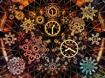 Inner Life of Chronology. Circles of Time series. Composition of clock symbols and fractal elements suitable as a backdrop for the projects on science, education vector illustration