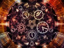 Inner Life of Chronology. Circles of Time series. Composition of clock symbols and fractal elements suitable as a backdrop for the projects on science, education royalty free illustration