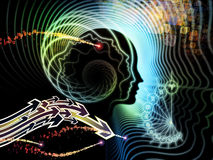 Inner Life of Human Mind. Backdrop of human feature lines and symbolic elements on the subject of human mind, consciousness, imagination, science and creativity Stock Image