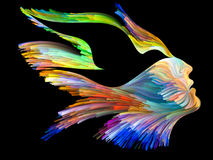 Inner Life of Imagination. Bird of Mind series. Interplay of woman and bird profile executed with colorful paint on the subject of creativity, imagination Stock Photography