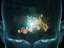 Inner Life of the Mind. Frame of Mind series. Background design of human face wire-frame and fractal elements on the subject of mind, reason, thought, mental Royalty Free Stock Photos