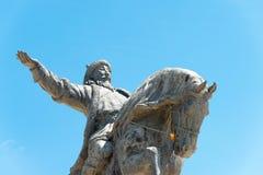 INNER MONGOLIA, CHINA - Aug 10 2015: Kublai Khan Statue at Kublai Square in Zhenglan Banner, Xilin Gol, Inner Mongolia, China. royalty free stock photography