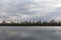 Inner New York skyline viewed from Central Park. Photo shot from inside Central Park in New York Royalty Free Stock Photography