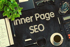 Inner Page SEO Concept on Black Chalkboard. 3D Rendering. Royalty Free Stock Photo