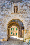 The inner Ploce Gate, Dubrovnik, Croatia. The inner Ploce Gate (Gate of St Luka) to old walled city of Dubrivnik. Romanesque style, with the patron of Dubrovnik Royalty Free Stock Photo