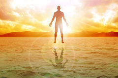 Inner Power. Silhouette illustration of human figure floating on water Royalty Free Stock Image