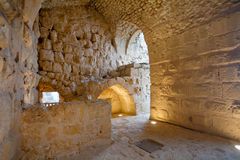 Inner room in in medieval Ajlun Castle, Jordan Royalty Free Stock Images