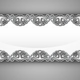 Inner silver steel lace decorated frame vector Stock Photos