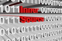 Inner source. In the form of binary code, 3D illustration Stock Image