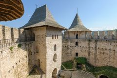Inner space of medieval fortress in Soroca, Republic of Moldova stock image