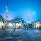 Inner square of Suleymaniye Mosque or Blue Mosque. Inner square of Blue Mosque in Istanbul, Turkey royalty free stock images