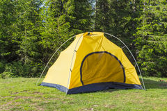 Inner tent from hiking dome tent on background of forest Royalty Free Stock Photo