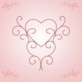 Inner-umreiß des Valentinsgrußes - rosafarbene Steigung Stockbild