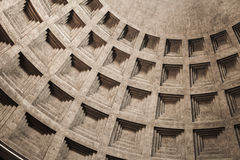 Inner vault of the dome. Pantheon of Rome Royalty Free Stock Photo