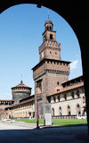 Inner view of Castello Sforzesco. A rear view of the front of Castello Sforzesco in Milan, Italy, from a lateral entrance Royalty Free Stock Images