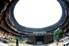 Inner view of the circle earth tower. Inner view of the chinese earth tower of hakkas Royalty Free Stock Photo