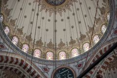 Inner view of dome in Ottoman architecture. In, Istanbul, Turkey royalty free stock images