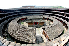 Inner view of the earth tower. Inner view of the chinese earth tower of hakkas Stock Photo