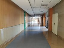 Inner view with empty passage in hospital Stock Photo