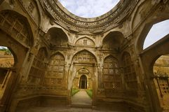 Inner view of a large dome at Jami Masjid Mosque,UNESCO protected Champaner - Pavagadh Archaeological Park, Gujarat, India. Dates to 1513, construction over stock photography