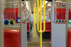 Inner view of a Viennese Underground train Stock Image